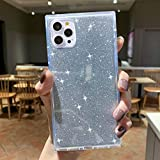 Square Case Compatible with iPhone 12 Pro/iPhone 12, Tzomsze Glitter Case Reinforced Corners TPU Cushion, Crystal Clear Slim Cover Shock Absorption TPU Phone Case 6.1 inch (2020)-Clear