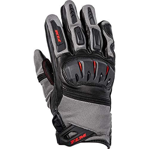 FLM Motorradhandschuhe kurz Motorrad Handschuh Sports Leder-/Textilhandschuh 3.0 grau/rot 8, Herren, Sportler, Ganzjährig