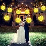 Guirnalda de Luces Solares, 50 LED 8 Modos Bola de Cristal a Prueba de Agua Luces LED Decorativas de Hadas para Jardín, Bodas, Eésped, Patio, árbol de Navidad (Blanco Cálido)
