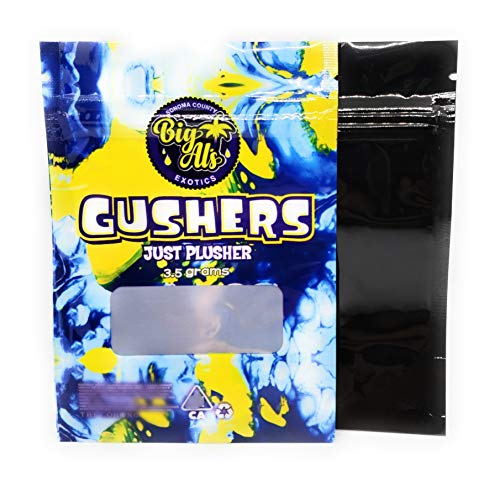 New Gusherz 3.5 Gram Mylar Bags, Premium, Heat Seal, Smell Proof, Child Proof, Resealable Zipper Sto...