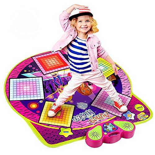 Kqpoinw Tapis de danse, tapis de jeu électronique pour mélangeur de danse,tapis musical pour enfants, filles et garçons,tapis de jeu de danse avec lumières LED, musique intégrée et à brancher,100x90cm