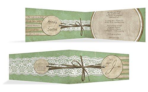 Hochzeitskarten: Hochzeitskarte Einladung Vintage Lace, hochwertige Einladung zur Heirat inklusive Umschläge | 15 Karten (format: 215.00x105.00mm) color: Grün