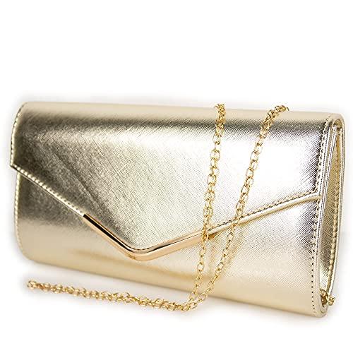 Pochette oro eleganti da cerimonia per donna ragazza signora borsa a busta mano clutch...