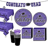 Party City Purple Congrats Grad 2021 Graduation Party Supplies for 36 Guests with Tableware and Banner
