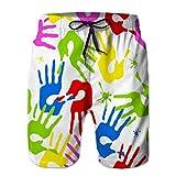 jiilwkie Pantaloncini da Spiaggia Traspiranti Estivi da Uomo Modello Senza Cuciture con lancette Colorate XXL