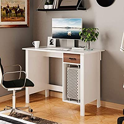 Itaar Writing Computer Desk Study Table with Non-Woven Fabric Drawer, PC Workstation Laptop Table with Adjustable CPU Storage Shelf, Home Office Notebook Desk, White by Itaar