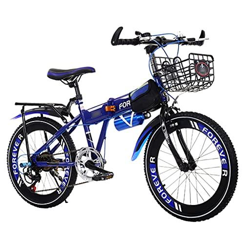 Bicicletas Triciclos Niños Y Niñas De 18/20/22 Pulgadas Montaña Plegable para Niños Montaña De Velocidad Variable para Estudiantes (Color : Blue, Size : 22 Inches)