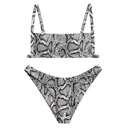 ZAFUL Conjunto de bikini para mujer con tirantes finos en V y diseño de leopardo, gris, S