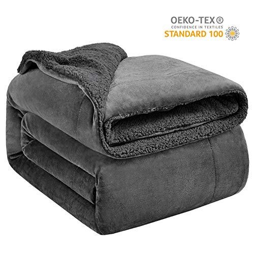 Hansleep Sherpa Decke 270 x 230 cm Grau Wohndecke Zweiseitige Kuscheldecke extra Dick & Warm Sofadecke/Couchdecke Mikrofaser Sofaüberwurf Superweich und Flauschig Fleecedecke für Bett und Sofa