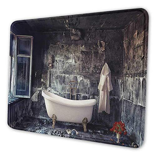 Antike gedruckte Mauspad-Badewanne im alten Raumbadezimmer frischer Blumenstraußvase viktorianischen Retro-Stil-Mauspad für Männer lustiges weißes braunes Grau