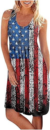 LYDIANZI Ranoff Mini Tank Vestido Mujer Playa Sundress Sundress Tie Dye Casual Sundress Scoop Scoop Cuello Sin Mangas Partido Bola Vestido Plisado Swing Falda(Size:Medio,Color:H Negro)