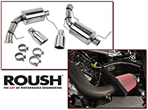 2011-2014 Mustang Base V6 3.7L Roush Cold Air Intake & Axle Back Muffler Exhaust Combo Kit