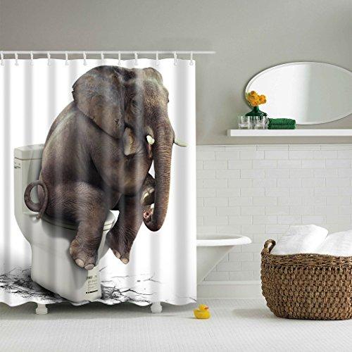 GWELL Top Qualität Anti-Schimmel Duschvorhang Digitaldruck inkl. 12 Duschvorhangringe für Badezimmer Art-I 180x200cm