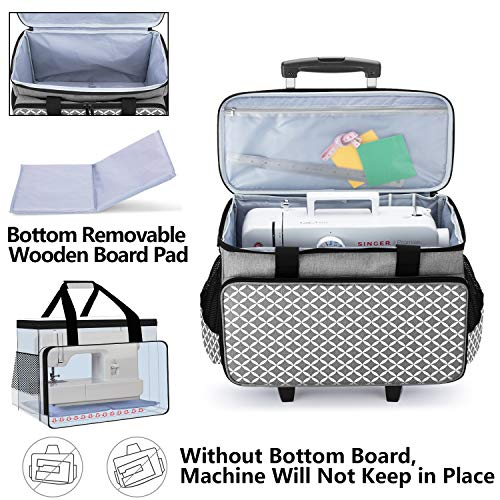 Yarwo Sewing Machine Trolley Bag on Wheels, Detachable Rolling Sewing Machine Bag with Bottom Support Board for Most Standard Sewing Machine and Accessories