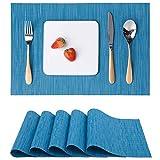 Myir JUN Tovagliette Americane Lavabili Plastica, Tovagliette Non-scivolose Resistenti al Calore, Set da 6 Tovagliette per Tavolo da Cucina (Blu)