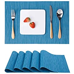Idea Regalo - Myir Tovagliette Americane Lavabili Plastica, Tovagliette Non-scivolose Resistenti al calore, Set da 6 Tovagliette per Tavolo da Cucina (Blu)