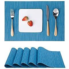 Idea Regalo - Myir JUN Tovagliette Americane Lavabili Plastica, Tovagliette Non-scivolose Resistenti al Calore, Set da 6 Tovagliette per Tavolo da Cucina (Blu)