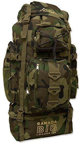 Andes Camouflage/Camo Ramada 120L Extra Large Hiking Camping Backpack/Rucksack Luggage Bag