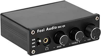 Fosi Audio Q4 - Mini Stereo DAC & Headphone Amplifier, 24-Bit/192 KHz USB/Optical/Coaxial to RCA AUX, Digital-to-Analog Audio Converter Adapter for Home/Desktop Powered/Active Speakers - Black