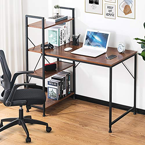 Comhoma Computer Desk with Storage Shelves 47 Inch Home Office Desk with Reversible Bookshelf Study Writing Table Corner Desk for Small Space Easy Assemble, Brown