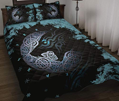 Viking Fenrir Wolf Quilt All-Season King Queen Twin Size Beach Trips, Quilt Sets Birthday Thanksgiving Xmas for Dad Mom Husband Wife Kids Son Daughter