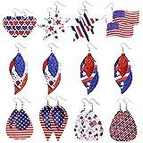 Sntieecr - 10 pares de pendientes de piel con forma de lágrima para mujer, diseño de bandera americana