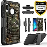 Moto E6 Phone Case, with [Tempered Glass Screen Protector Included], Circlemalls Combo Holster Belt Clip,Built-in Kickstand with Rotatable Belt Clip Cover and Stylus Pen-Camo