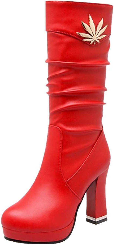 JOJONUNU Women Chunky Heel Mid Calf Boots