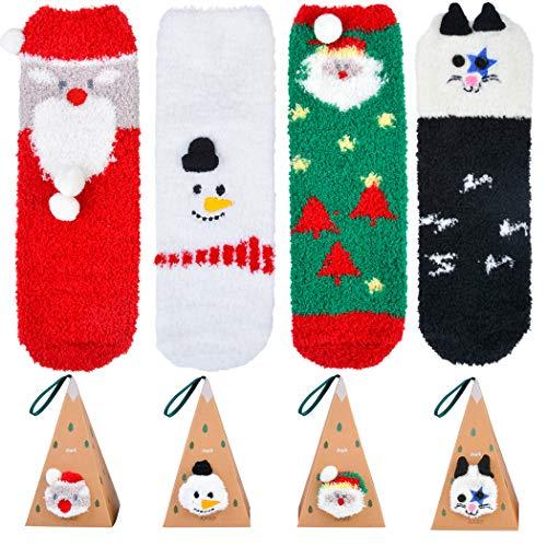 Fascigirl Calcetines de Navidad, 4Pair Calcetines de Invierno Calcetin Navidad Calcetines Termicos Rayas Calcetines Gruesos Calcetines Navidad Mujer Esponjosos Calcetines con Dibujos Navidad Regalo