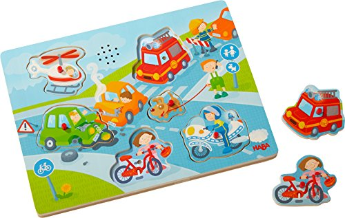 HABA 303180 - Sound-Greifpuzzle In der Stadt | Kinderpuzzle ab 2 Jahren mit spannenden Stadtmotiven | Typische Stadtgeräusche sorgen für extra Spaß