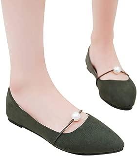 FidgetGear Lady Fashion Flat Heel Imitation Pearl Tip Head Shallow Design Shoes
