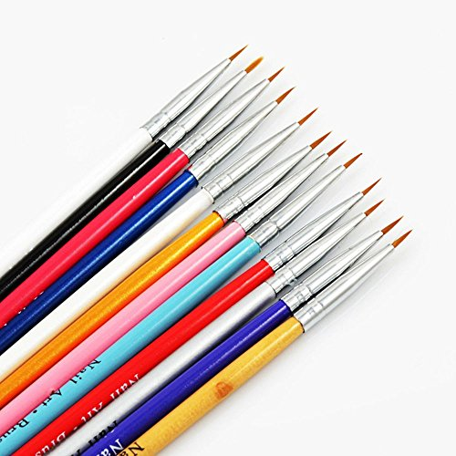 Crazy Genie 12 Pcs Colorful Nail Art Design Detailing Drawing Paint Painting Brushes Dotting Pen Set