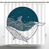 remmber me Duschvorhang Whale Big Whale Schwimmen in einem gewellten Ozean mit Sternen & Alten antiken Schiff Artwork Print Petrol/weiß Polyester Badezimmer Duschvorhang mit Haken 60 x 72 Zoll