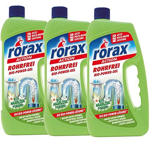 3x rorax Rohrfrei Bio-Power-Gel 1 Liter - Löst selbst Haare auf