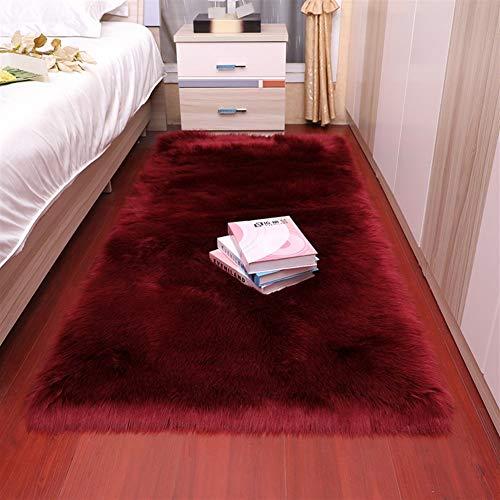 Jnszs Felpa suave sala de estar, dormitorio, alfombra de lana de imitación de pelo largo, cojín de cama, cojín de sofá, cojín blanco y rojo para sala de estar (color: FS1 4, tamaño: 40 x 60 cm)