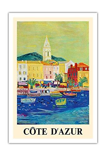 Côte d'Azur - Port de Saint-Tropez - SNCF (Société nationale des chemins de fer français) - Affiche ferroviaire de Roger Bezombes c.1966 - Impression d'Art 76 x 112 cm
