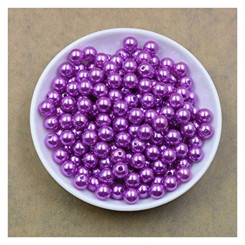 WESET 100pcs/bag With Hole ABS Imitation Pearl Beads 4/6/8/10/12MM Round Plastic Acrylic Spacer Bead (Color : Purple, Size : 6mm x 100pcs)