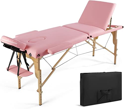 2021 Portable Massage Table Massage Bed Spa Bed84 Inch Height Adjustable Portable discount Tattoo SalonBed 450 LBS Capacity Carrying Case with Dust Bag (3 Folding, sale Pink) online