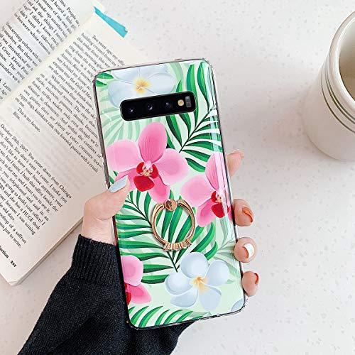 Herbests Kompatibel mit Samsung Galaxy S10 Hülle Silikon Handyhülle Mode Blätter Blumen Muster Ultra Dünn TPU Silikon Handytasche Crystal Case Schutzhülle mit Ring Ständer Halter,Rosa Blume