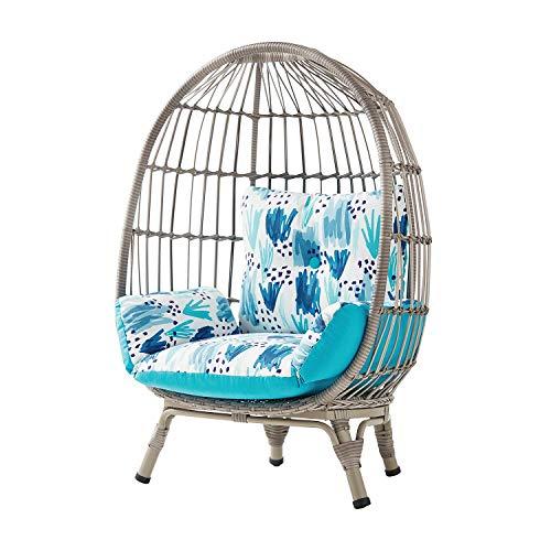 Handwoven Wicker on Steel Frame Kid's Egg Chair w/Reversible Cushion (Grey)