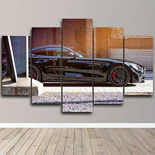 MOXIGE Bilder personliga presenter till kvinnor/män AMG eller tävling bil i 5 delar kanvasbilder på duk väggmålning konsttryck väggdekoration vardagsrum – 100 x 55 cm