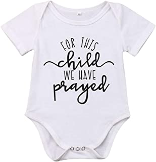 Newborn Infant Baby Boys Girls Soft for This Child We Have Prayed Bodysuit Romper Outfits