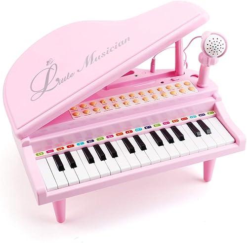 Amy & Benton Piano Enfant Fille1 2 3 Ans, Piano Jouet Rose Bebe avec Microphone, Jouet Musical Instrument Cadeau pour...