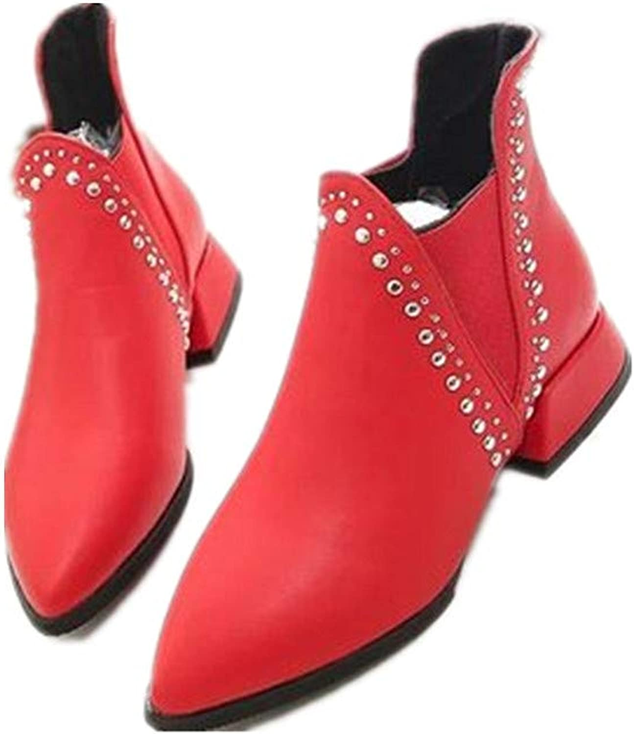 Edv0d2v266 Casual Western Ankle Bootie Comfortable Closed Toe shoes Low Heel Slip on Boot