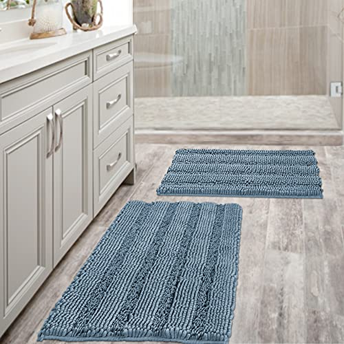 Extra Thick Chenille Striped Pattern Bath Rugs for Bathroom Non Slip - Soft Plush Shaggy Bath Mats for Bathroom Floor, Indoor Mats Rugs for Entryway(Stone Blue, 32 x 20 Plus 24 x 17 - Inches)