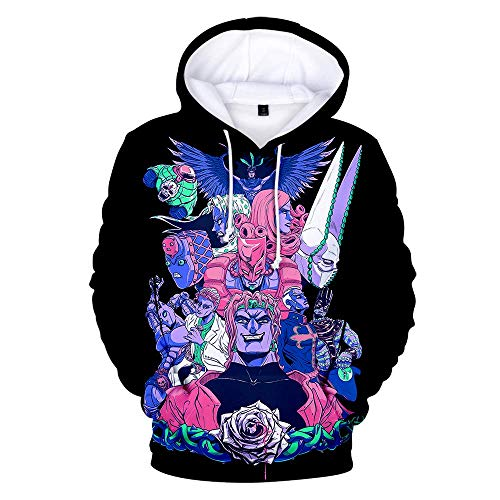 Lucky Park JoJo's Bizarre Adventure Unisex Hoodie 3D Printed Hooded Pullover Sweatshirt for Men Women Teen XL Black