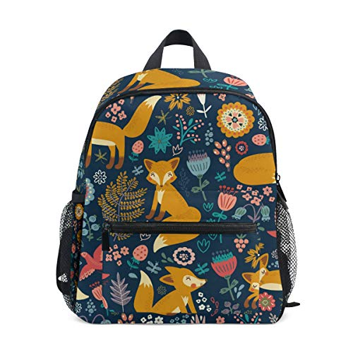 Mini Fox Backpack for Girls Floral Navy Kids Preschool Backpacks Toddlers Purse Kindergarten Book Bags for Teen