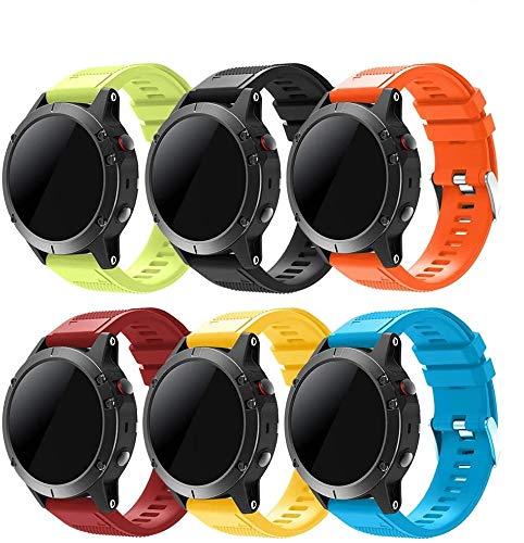 TOPsic Bracelet Fenix 5/Fenix 5 Plus, Bracelet de Montre 22mm Bande de Remplacement en Silicone pour Fenix 5/5 Plus/Fenix 6/6 Pro/Approach S60/Quatix 5/Forerunner 935/945/Instinct