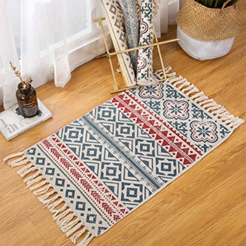 Sumshy Alfombra etnica Bohemia algodón y Ropa Alfombra Sala alfombras de habitacion de Estar Dormitorio cabecera Alfombra étnica Vintage Borla de Viento - 90x60cm