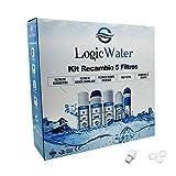 LogicWater - Kit 5 Filtros Osmosis Inversa 5 Etapas y Membrana 75 Gpd - Cartuchos Repuestos